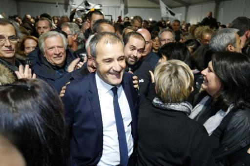 Jean-Guy Talamoni, dirigeant du parti indépendantiste Corsica Libera et allié de Gilles Simeoni au sein de la coalition nationaliste  qui a remporté les élections territoriales en Corse, le 10 décembre 2017 à Bastia  © PASCAL POCHARD-CASABIANCA AFP