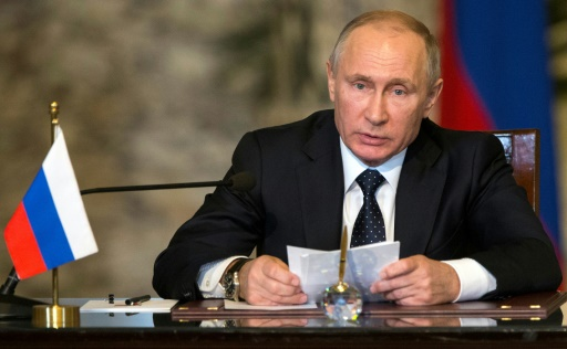 Vladimir Poutine lors d'une conférence de presse au Caire, le 11 décembre 2017  © Alexander Zemlianichenko POOL/AFP