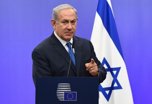 Benjamin Netanyahu le 11 décembre 2017 lors d'une conférence de presse à Bruxelles © EMMANUEL DUNAND, EMMANUEL DUNAND AFP