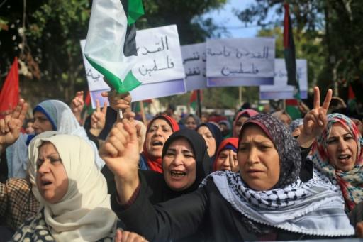 Des Palestiniennes protestent contre la décision américaine sur Jérusalem à Gaza le 11 décembre 2017 © MOHAMMED ABED AFP