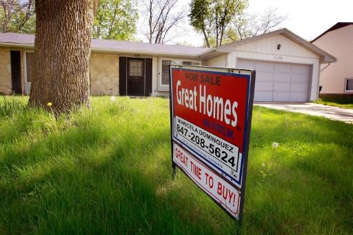Maison à vendre le 12 mai 2009 à Elgin, dans l'Illinois. En 2006-2007, la baisse surprise du marché immobilier américain a entraîné la chute des subprimes © SCOTT OLSON GETTY IMAGES NORTH AMERICA/AFP/Archives