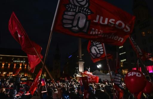 Des militants du SPD allemand à Munich le 14 septembre 2017 © Guenter SCHIFFMANN AFP/Archives