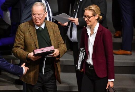 Les chefs du groupe parlementaire du parti anti-migrants AfD Alexander Gauland et Alice Weidel au Bundestag (Parlement) à Berlin le 12 décembre 2017 © John MACDOUGALL AFP/Archives