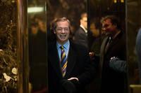 Nigel Farage à la Trump Tower, peu après l'élection de Donald Trump à la Maison-Blanche.
