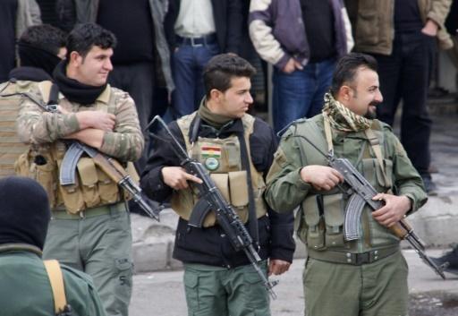 Photo de forces de sécurité kurdes irakiennes lors d'une manifestation, le 19 décembre 2017 à Suleimaniyeh © SHWAN MOHAMMED AFP