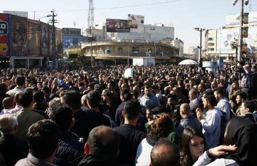 Photo d'une manifestation contre la corruption et le gouvernement régional du Kurdistan irakien, le 18 décembre 2017 à Souleimaniyeh © SHWAN MOHAMMED AFP