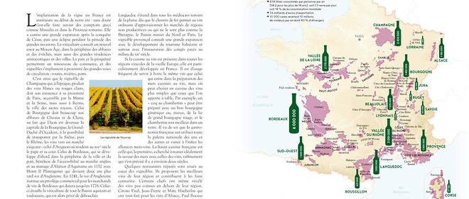 """La page """"vin"""" de l'Atlas Gastronomique de la France par Jean-Robert Pitte"""