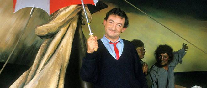 L'humoriste Pierre Desproges au 'Musee Grevin', il improvise au milieu de la représentation du 'Radeau de la Meduse', le 24 mars 1986.