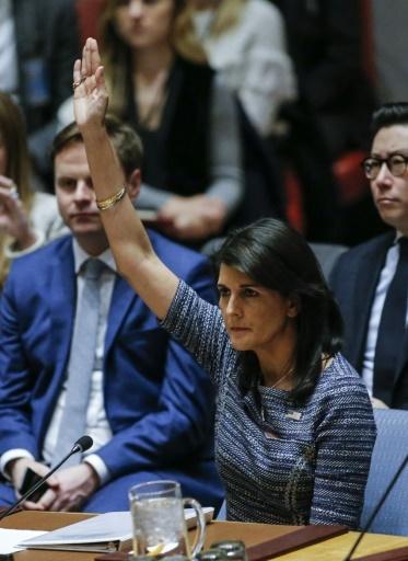 Nikki Haley au Conseil de sécurité de l'ONU le 22 décembre 2017 à New York © KENA BETANCUR AFP