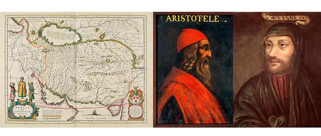 Portrait du philosophe grec Aristote, peinture d'Antonio Maria Crespi, et portrait imaginaire d'Avicenne par l'école française.
