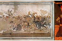 À gauche : la bataille entre Alexandre Le Grand et Darius III. Le royaume perse a été la victime d'invasions à toutes les époques.  Jusqu'à ce que Nader Shah Afshar (à droite) ne chasse les Afghans au XVIIIe siècle.
