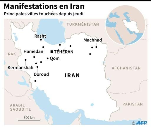Principales manifestations survenues depuis jeudi en Iran, à Téhéran et dans plusieurs villes de province, dont Machhad, la deuxième du pays © Alain BOMMENEL AFP