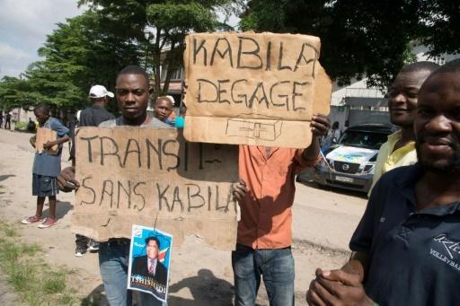 Des opposants au président Kabila manifestent à Kinshasa, le 30 novembre 2017 © JUNIOR KANNAH AFP
