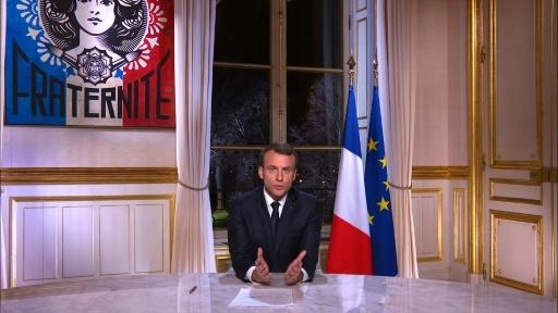 Capture d'écran du discours du président Emmanuel Macron lors de ses voeux pour la nouvelle année 2018, le 31 décembre 2017 à Paris © STRINGER AFP