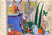 Légendes. Miniature tirée du «Livre desrois». Manuscrit, vers 1520. Cette épopée en vers retraçant l'histoire légendaire de la Perse est l'œuvre de Ferdowsi (vers940-vers 1020), poète considéré comme le «recréateur de la langue persane».  ©The British Library / British Library Board/Leemage