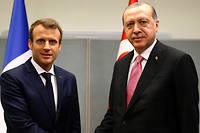 Recep Tayyip Erdogan et Emmanuel Macron à la 72e session de l'Assemblée générale des Nations unies en septembre dernier. Le président français s'est engagé à évoquer avec lui le sort des journalistes, écrivains et intellectuels incarcérés en masse en Turquie.