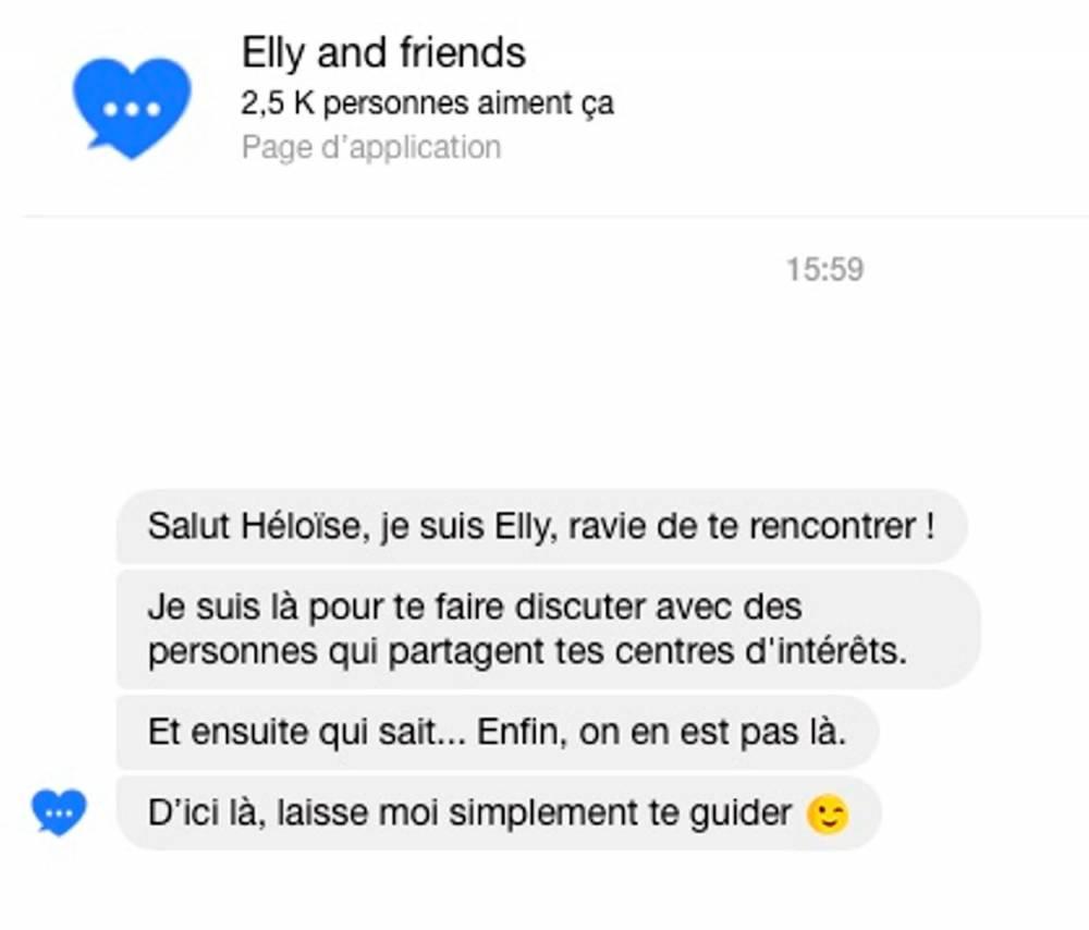"""Capture d'écran d'un essai du chatbot/coach love """"Elly"""" sur Facebook Messenger"""