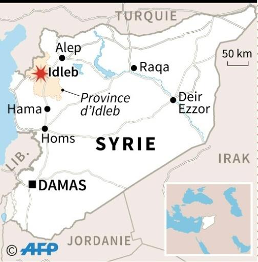 Localisation d'Idleb où au moins 21 civils, dont huit enfants, ont été tués dimanche dans des raids aériens du régime et de son allié russe © AFP AFP
