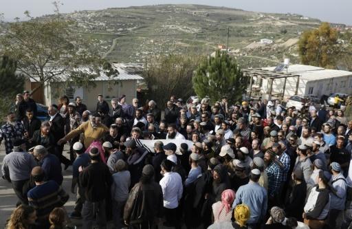 Funérailles du rabbin israélien tué la veille par balle près de Naplouse en Cisjordanie occupée, le 10 janvier 2018 © Menahem KAHANA AFP