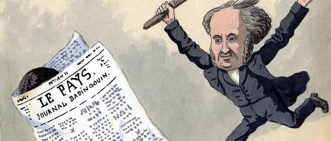 Bâton. Lithographie aquarellée d'Edmond Lavrate illustrant les poursuites contre la presse.