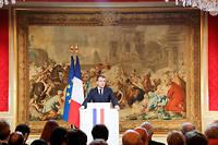 Emmanuel Macron lors de ses vœux à la presse le 3 janvier 2018.  ©LUDOVIC MARIN