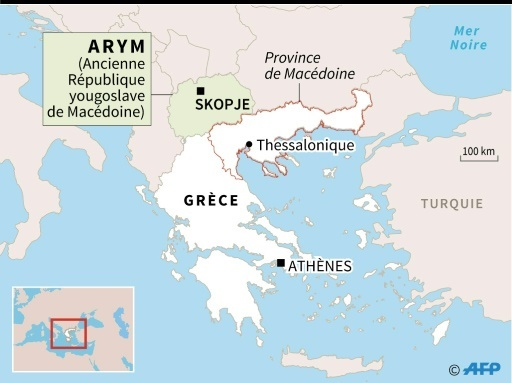 Carte de localisation de la province de Macédoine en Grèce et de l'ancienne République yougoslave de Macédoine © Kun TIAN AFP