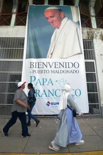 Avant l'arrivée du pape François à Puerto Maldonado au Pérou le 18 janvier 2018 © CRIS BOURONCLE AFP/Archives