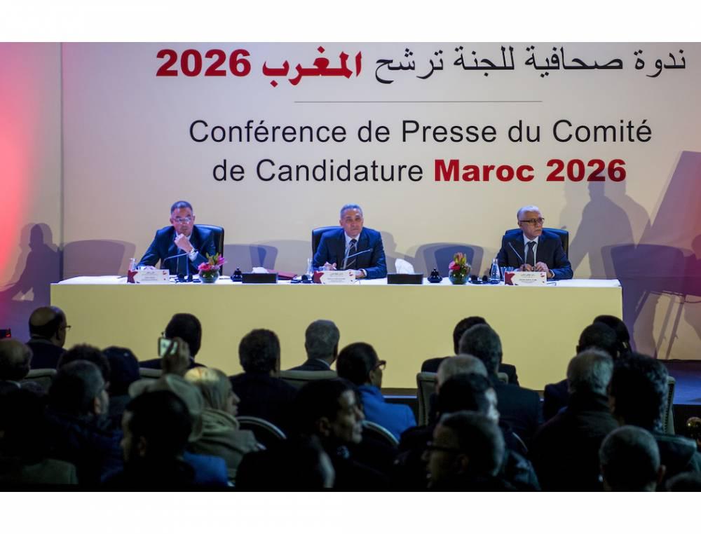 Lors de la conférence de presse de présentation de la candidature du Maroc à Casablanca le 23 janvier 2018. De gauche à droite : Fouzi Lekjaa, président de la FRMF, Moulay Hafid Elalamy, président du comité de candidature, Rachid Talbi Alami, ministre de la Jeunesse et des Sports.  ©  FADEL SENNA / AFP