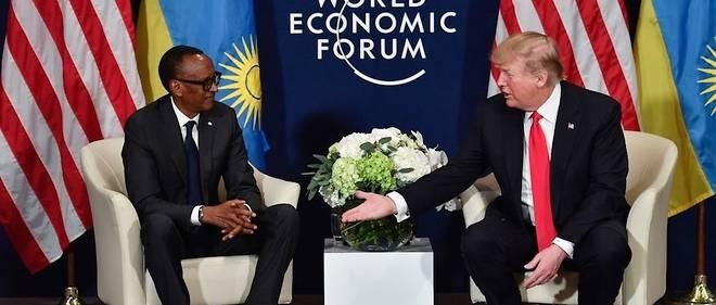 Le président rwandais Paul Kagame et son homologue américain, Donald Trump, au sommet de Davos, en Suisse, le 26 janvier 2018.