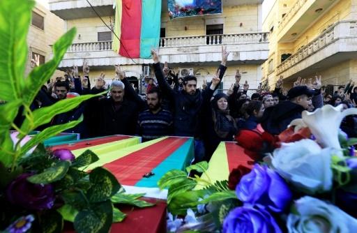 Enterrement de Kurdes syriens tués dans l'offensive turque, le 29 janvier 2018 à Afrine dans le nord-ouest de la Syrie  © Delil souleiman AFP