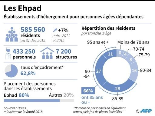 Quelques chiffres sur les établissements d'hébergement pour personnes âgées dépendantes et leurs personnels d'encadrement © Sophie RAMIS AFP