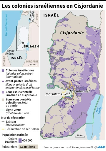 Les colonies israéliennes en Cisjordanie © AFP AFP/Archives