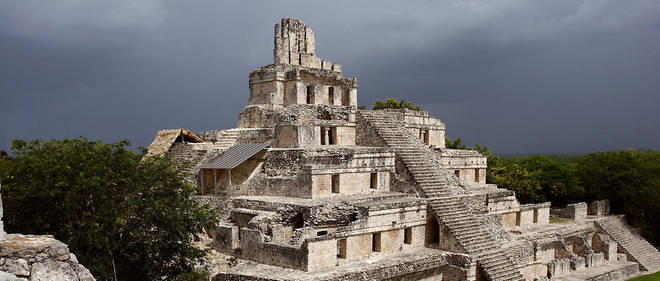 Un temple maya au Mexique.