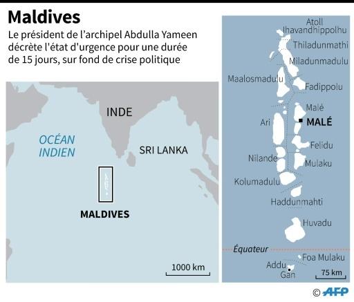 Carte des Maldives dont Le président Abdulla Yameen a décrété l'état d'urgence pour une durée de 15 jours © Laurence CHU AFP