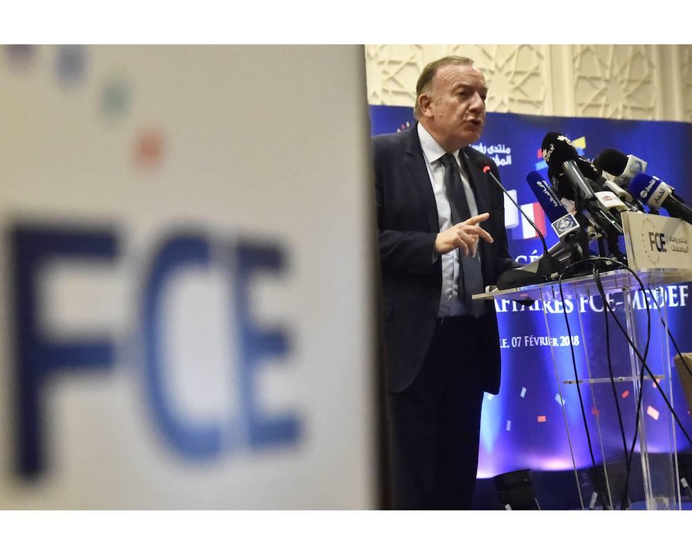 Le président du patronat français, Pierre Gattaz, a exprimé les vues et attentes des hommes d'affaires français.  ©  RYAD KRAMDI / AFP