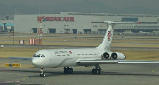 L'avion de la délégation nord-coréenne aux JO d'hiver en Corée du Sud arrive à l'aéroport de Séoul, le 9 février 2018.  © - Dong-A Ilbo/AFP