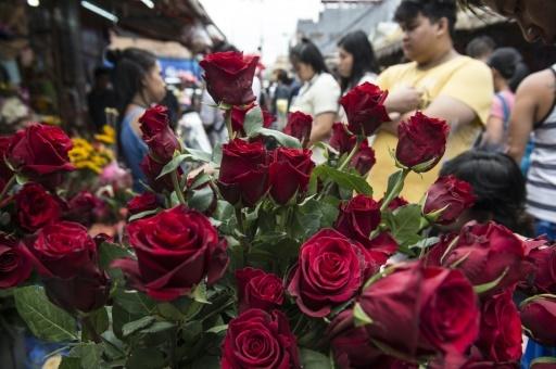 Un bouquet de fleurs en vente pour la Saint-Valentin sur le marché de Manille, le 14 février 2018  © TED ALJIBE AFP