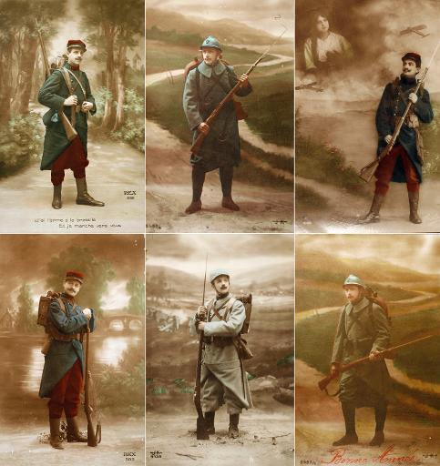 Série de cartes postales, issues de la collection de l'Historial de Péronne, montrant l'uniforme du poilu au début de la guerre ©  Historial de Péronne/AFP/Archives