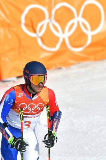 Le Français Mathieu Faivre à l'arrivée du slalom géant des Jeux de Pyeongchang, le 18 février 2018 © Fabrice COFFRINI AFP