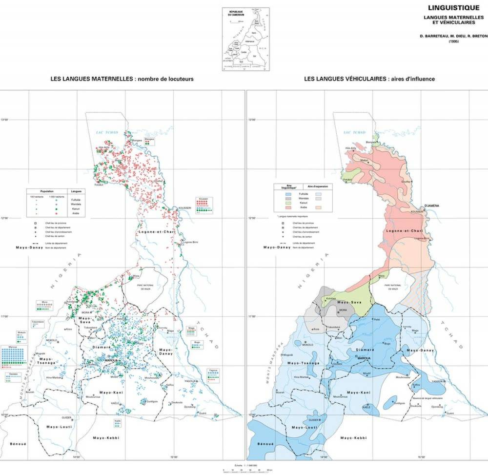 Linguistique, langues maternelles et vernaculaires, Atlas de la province extrême-nord, Cameroun. ©  Seignobos Ch. et Iyébi-Mandjek, IRD Editions, Paris, 2000, Author provided (No reuse)