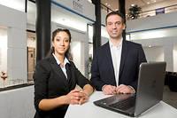 Guillaume et Inès, étudiants à l'ESSEC, Ecole Supérieure des Sciences Economiques et Commerciales  (C)Romain BEURRIER/REA