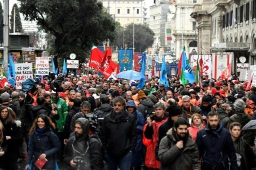 Manifestation antifasciste à Rome à l'appel de la gauche italienne, le 24.02.2018. © Andreas SOLARO AFP