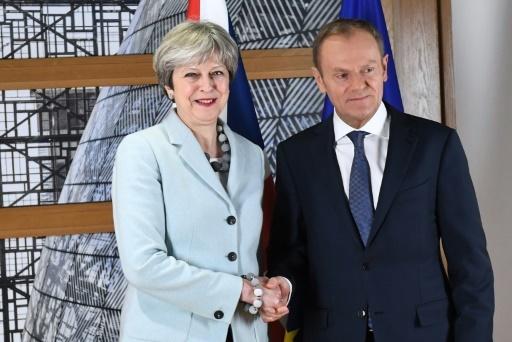 La Première ministre britannique Theresa May est reçue par le président du Conseil européen, Donald Tusk, à Bruxelles, le 8 décembre 2017  © EMMANUEL DUNAND AFP/Archives