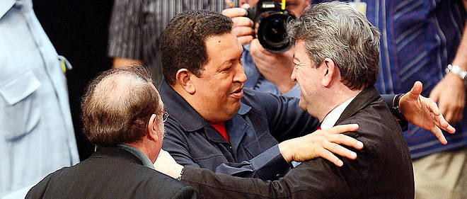 Rencontre entre Jean-Luc Mélenchon et Hugo Chávez, le 6 juillet 2012, au Venezuela.