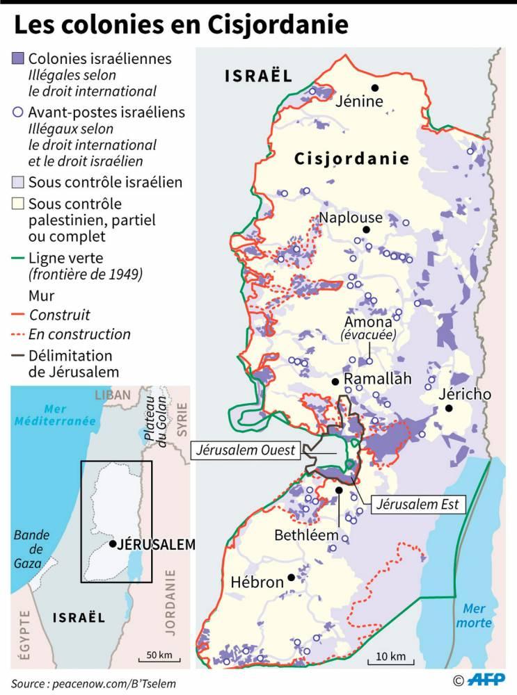 Les colonies israéliennes en Cisjordanie.  ©  AFP
