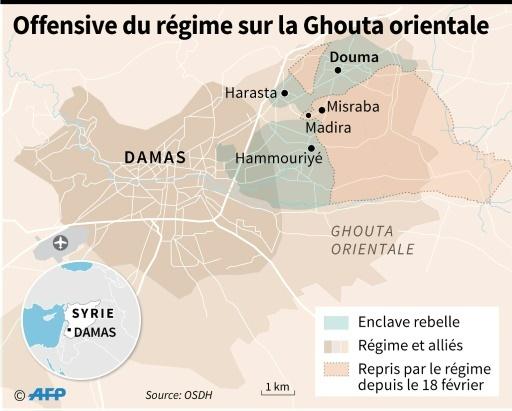 Localisation des zones de contrôle à Damas et dans la Ghouta orientale au 11 mars © Gillian HANDYSIDE AFP