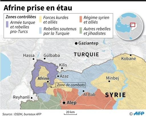 Afrine, encerclée par les forces armées turques et syriennes, situation au 13 mars  ©  AFP