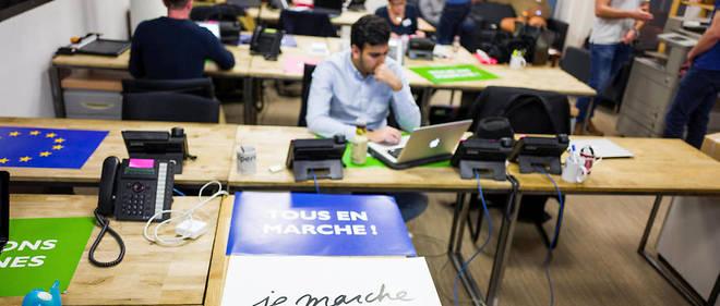 Au QG de campagne d'Emmanuel Macron en décembre 2016.