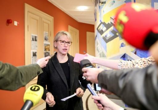 La ministre suédoise des Affaires étrangères Margot Wallstrom parle à des journalistes à Stockholm le 16 mars 2018, au lendemain d'une rencontre avec le chef de la diplomatie nord-coréenne Ri Yong Ho en visite en Suède © Soren ANDERSSON TT News Agency/AFP