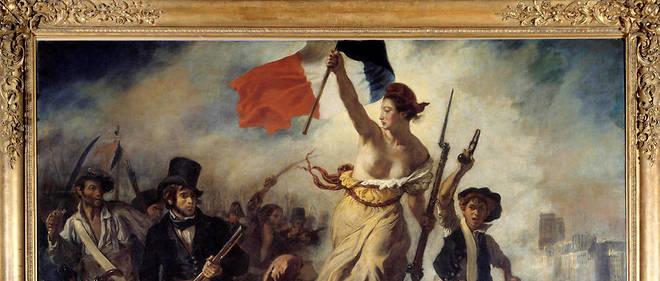 """""""Le 28 juillet 1830 : la Liberté guidant le peuple"""", d'Eugène Delacroix (1798-1863) exposée au Louvre."""